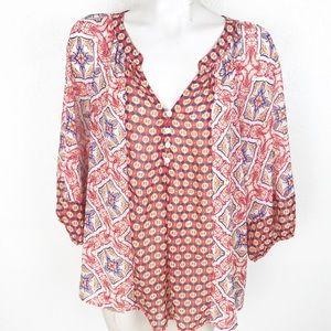 Fig & Flower Moroccan print boho sheer blouse A068